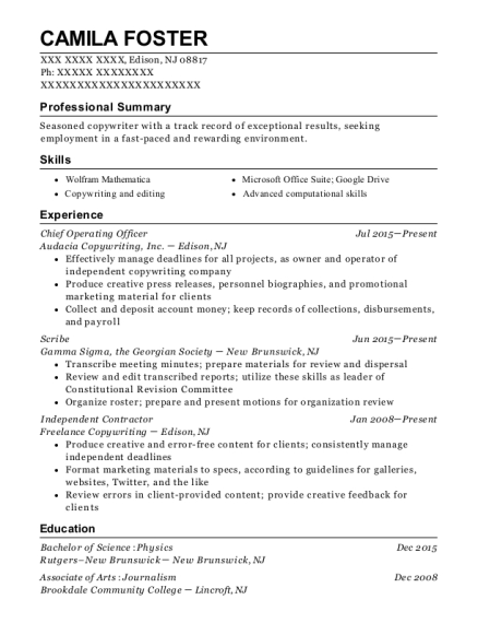 Chief Operating Officer resume example New Jersey