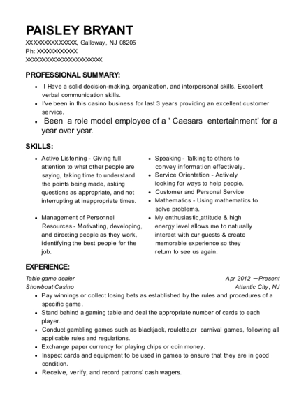 Table game dealer resume example New Jersey