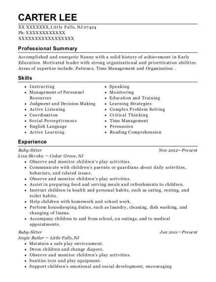 Baby Sitter resume format New Jersey