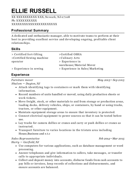 Furniture mover resume format New Jersey