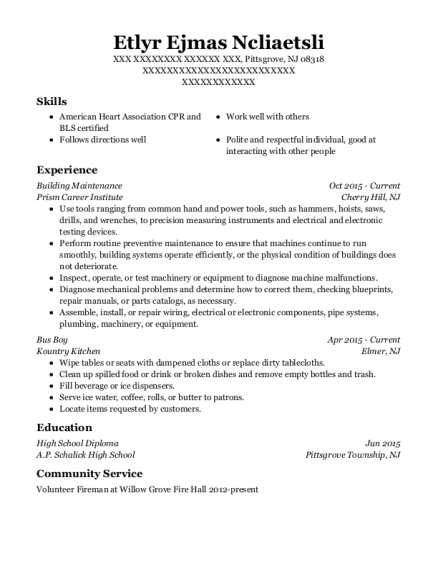 Building Maintenance resume format New Jersey