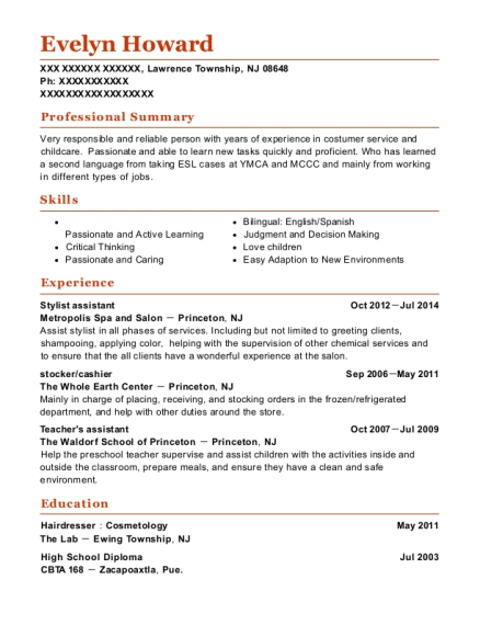 Stylist assistant resume format New Jersey