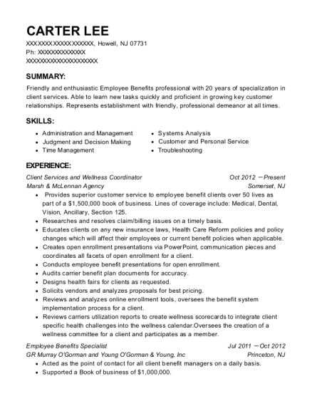 Client Services and Wellness Coordinator resume example New Jersey