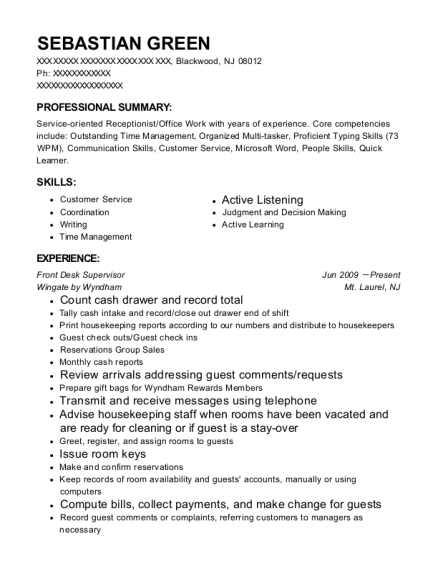 Front Desk Supervisor resume sample New Jersey