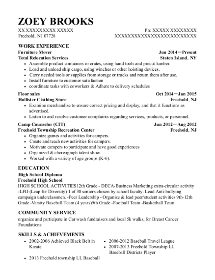 Furniture Mover resume template New Jersey