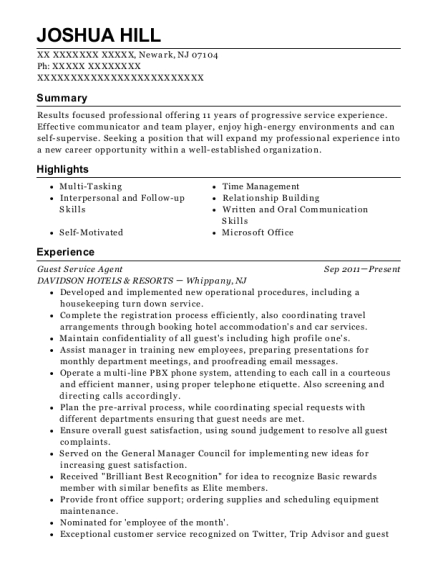 Guest Service Agent resume sample New Jersey