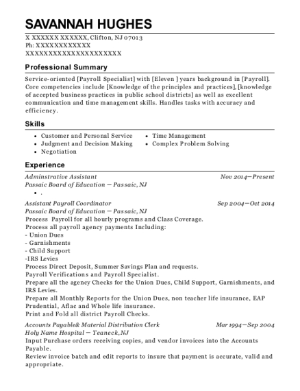 Adminstrative Assistant resume format New Jersey