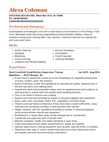 Broil Cook resume example New Jersey