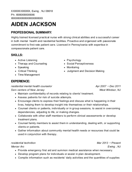 residential mental health counselor resume sample New Jersey