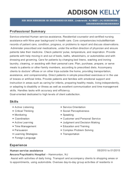 Human service assistance resume sample New Jersey