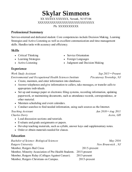 Work Study Assistant resume template New Jersey
