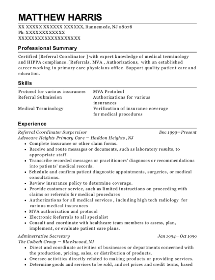 Referral Coordinator Surpervisor resume example New Jersey