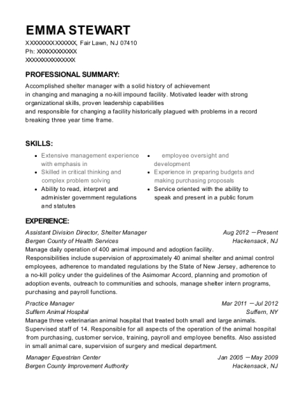 Assistant Division Director resume sample New Jersey