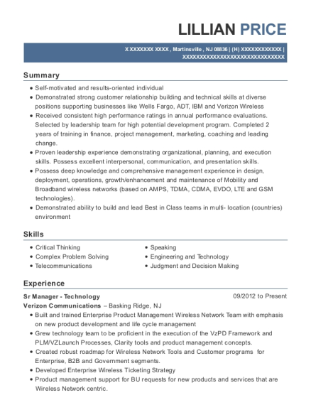 Sr Manager Technology resume template New Jersey
