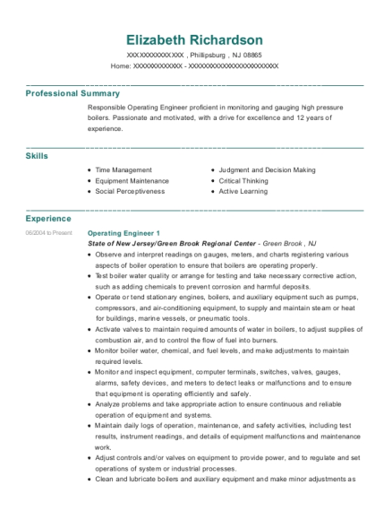Operating Engineer 1 resume format New Jersey