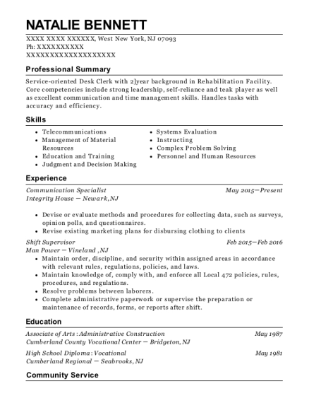 Communication Specialist resume example New Jersey