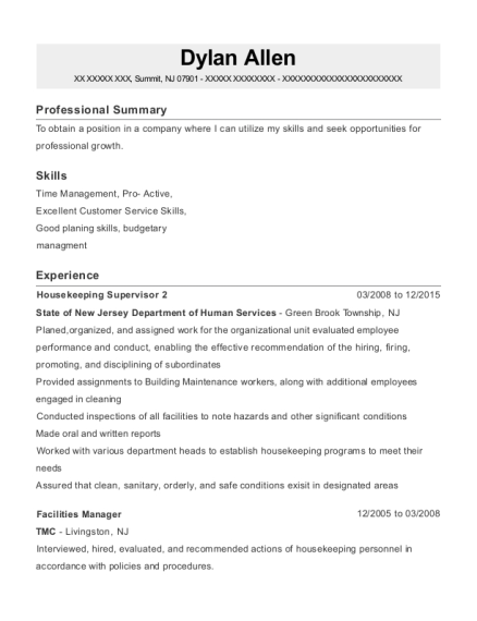 Housekeeping Supervisor 2 resume example New Jersey