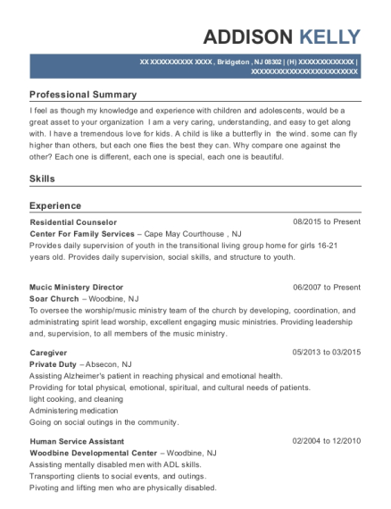 Residential Counselor resume example New Jersey