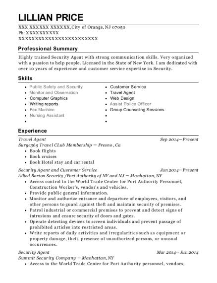 Travel Agent resume template New Jersey