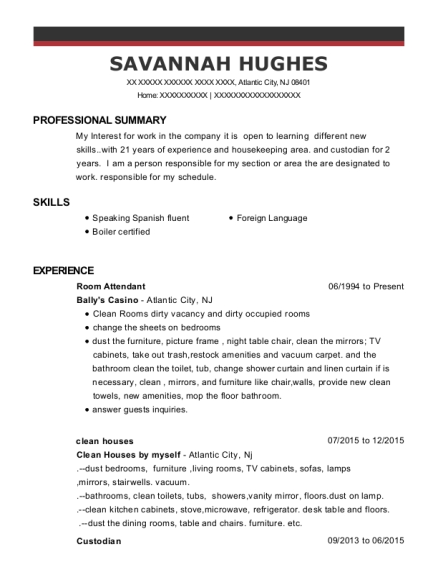Room Attendant resume sample New Jersey