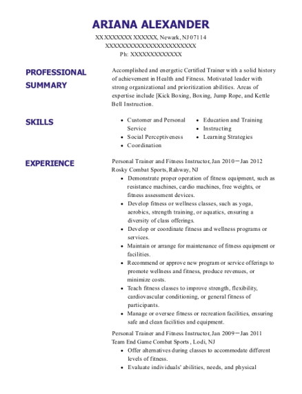 Personal Trainer and Fitness Instructor resume format New Jersey