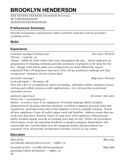 assistant manager lead person resume sample New Jersey