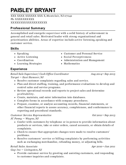 Retail Sale Supervisor resume format New Jersey