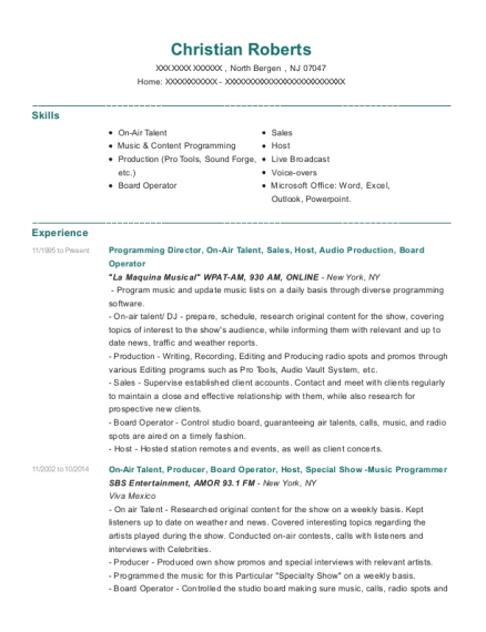 Programming Director resume template New Jersey