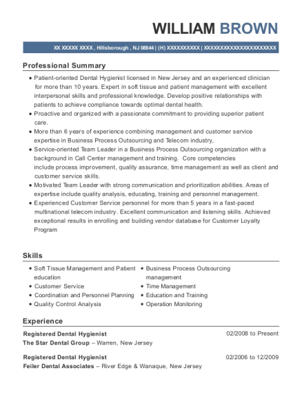 Registered Dental Hygienist resume example New Jersey