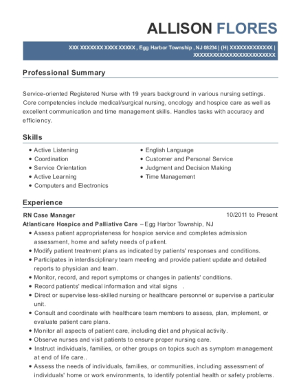 RN Case Manager resume template New Jersey