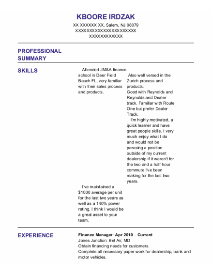 Finance Manager resume template New Jersey