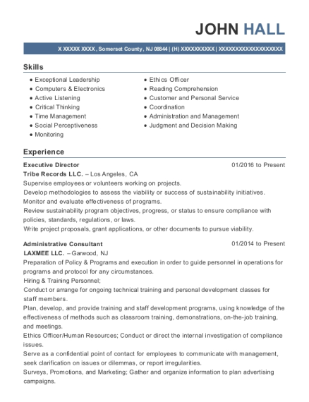 Executive Director resume template New Jersey