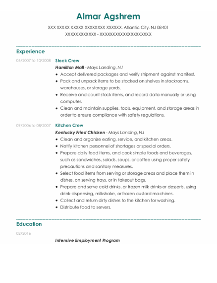 Stock Crew resume template New Jersey
