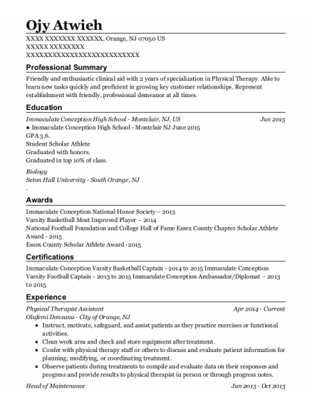 Physical Therapist Assistant resume example New Jersey