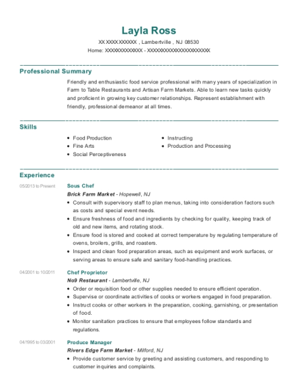 Sous Chef resume example New Jersey