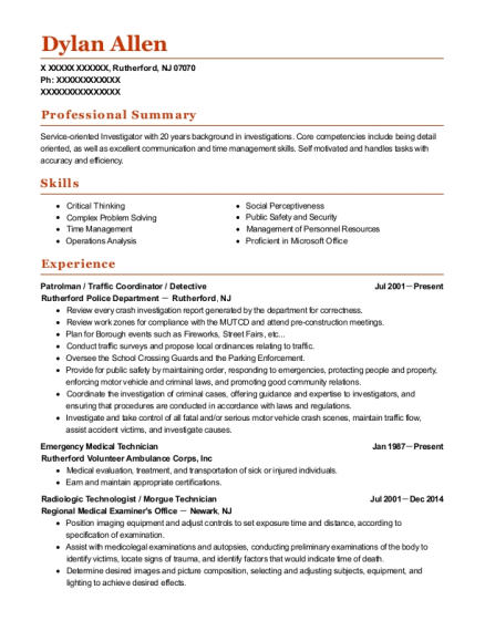 Patrolman resume format New Jersey
