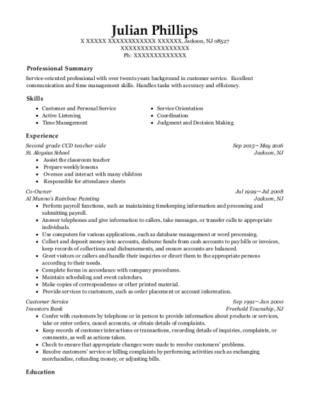 Second grade CCD teacher aide resume sample New Jersey