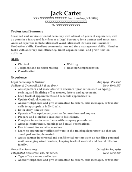 Legal Secretary to Partner resume template New Jersey