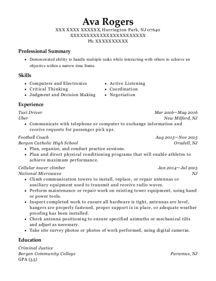 Taxi Driver resume sample New Jersey