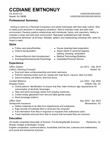 Office Cleaner resume format New Jersey