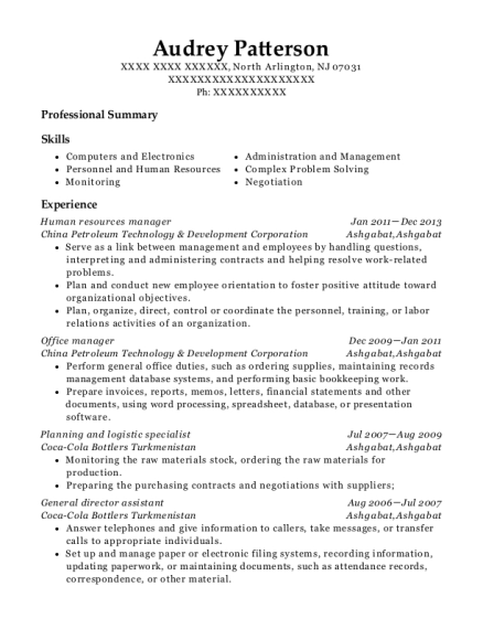 Human Resources Manager resume template New Jersey
