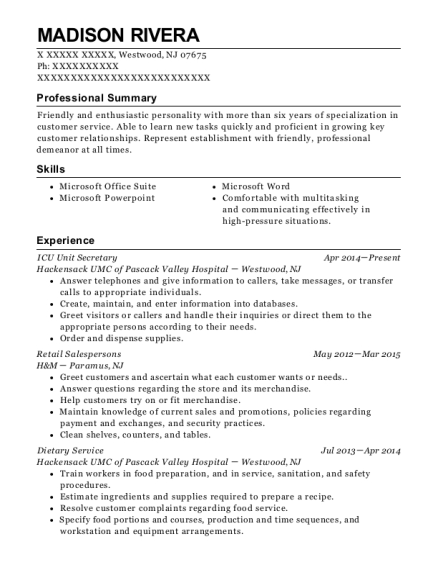 ICU Unit Secretary resume format New Jersey