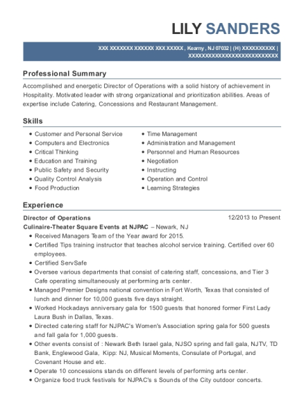 Director of Operations resume example New Jersey