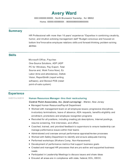 Human Resources Manager thru their restructuring resume format New Jersey