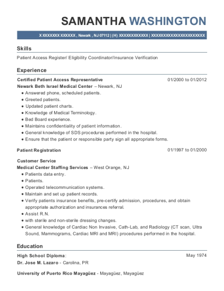 Certified Patient Access Representative resume sample New Jersey