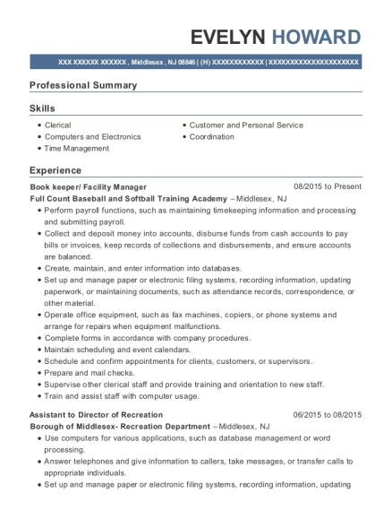 Book keeper resume sample New Jersey