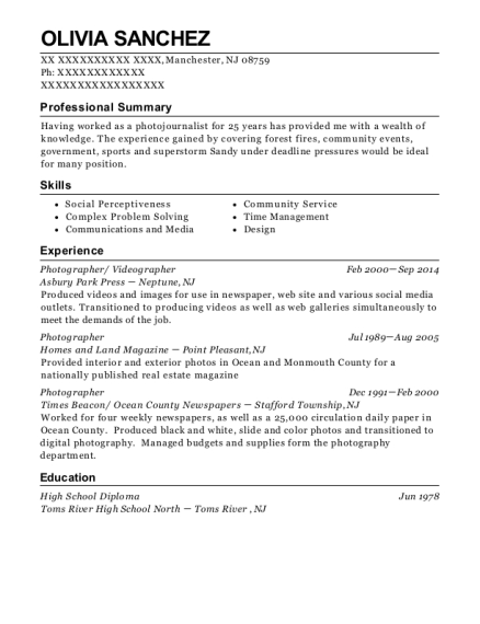 Photographer resume template New Jersey