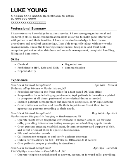 Front Desk Medical Receptionist resume example New Jersey