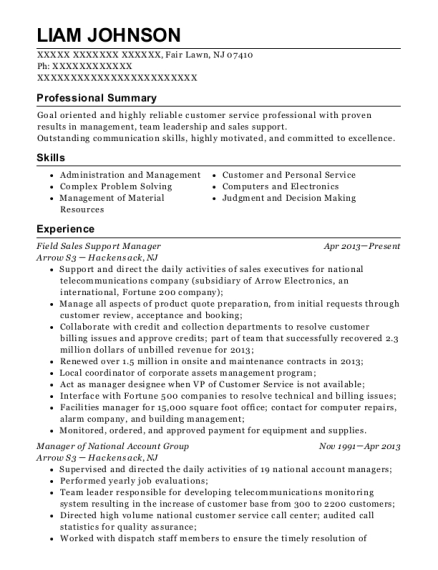 Field Sales Support Manager resume sample New Jersey