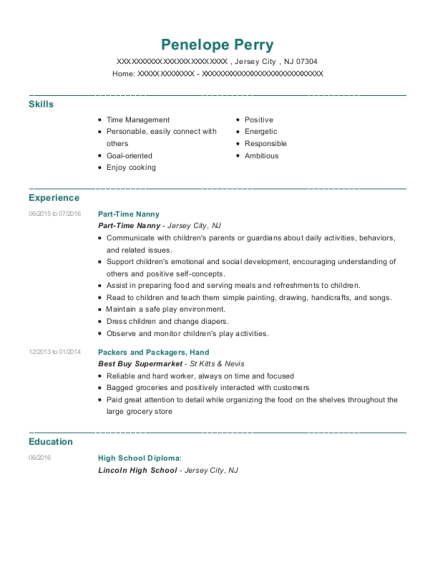 Part Time Nanny resume format New Jersey